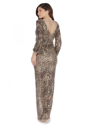 Pierre Cardin Yırtmaçlı Uzun Kollu Abiye Elbise Altın